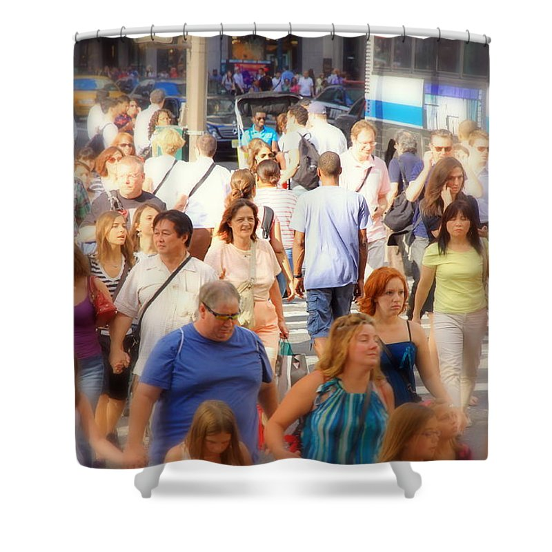 Streets Shower Curtain featuring the photograph New Yorkers by Valentino Visentini