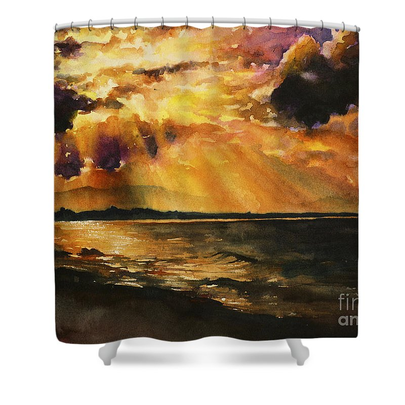 Prints Shower Curtain featuring the painting New Zealand Sunset by Ryan Fox