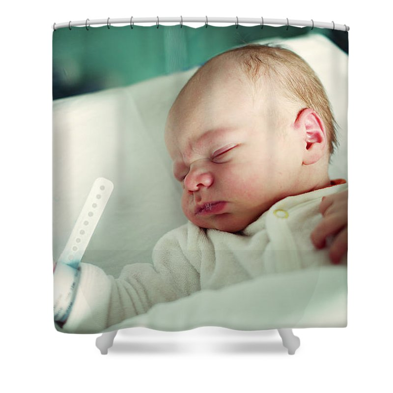 Tranquility Shower Curtain featuring the photograph Newborn Boy. First Day by Aleksandr Morozov