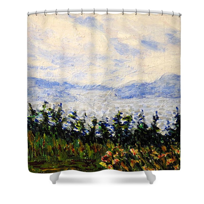 Newfoundland Shower Curtain featuring the painting Newfoundland Up The West Coast by Ian MacDonald