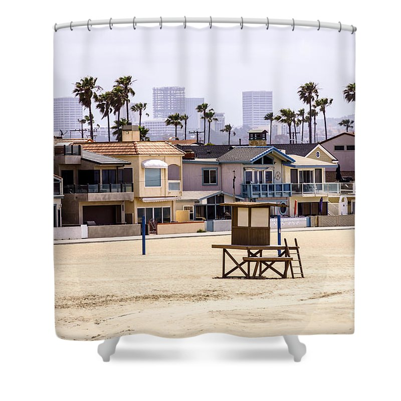 America Shower Curtain featuring the photograph Newport Beach Skyline And Waterfront Luxury Homes by Paul Velgos
