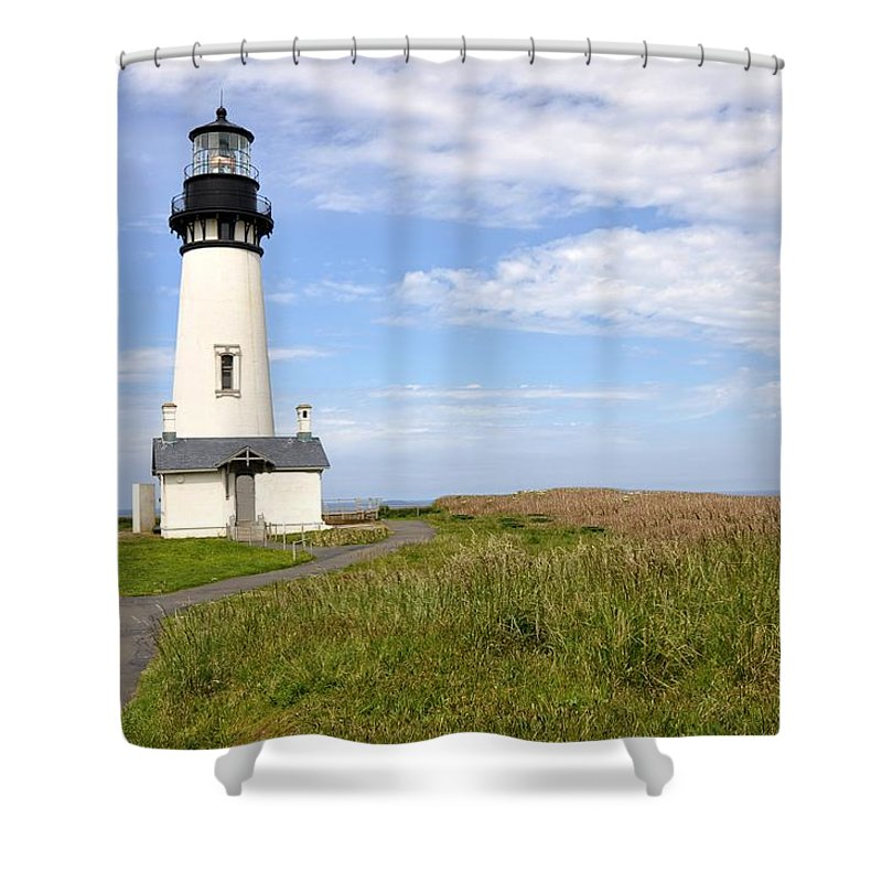 Newport Shower Curtain featuring the photograph Newport Oregon Yaquina Lighthouse by Image Takers Photography LLC