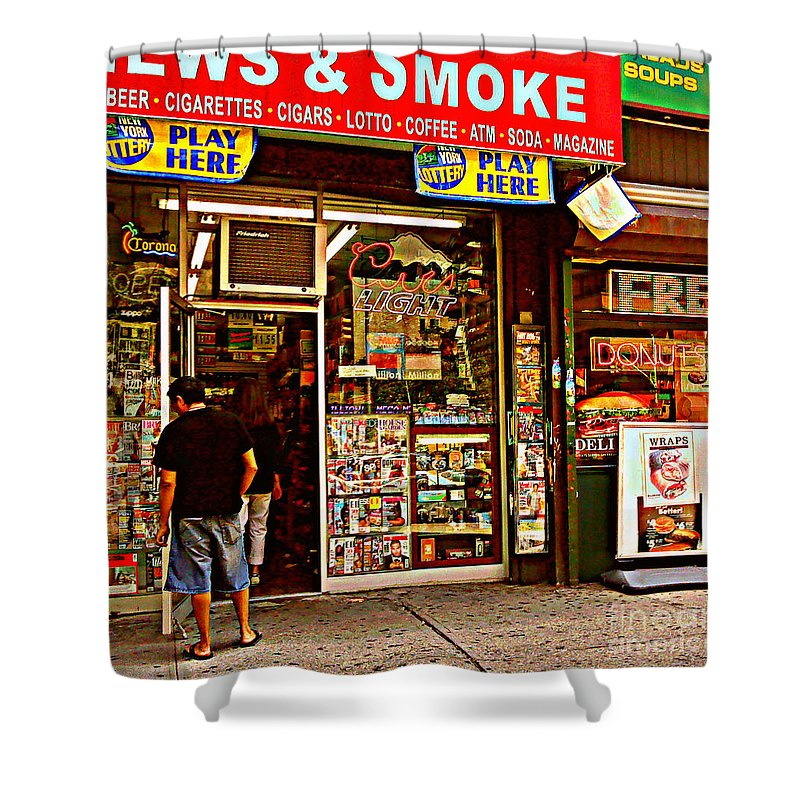 Convenience Store Shower Curtain featuring the photograph News And Smoke - Play Here by Miriam Danar
