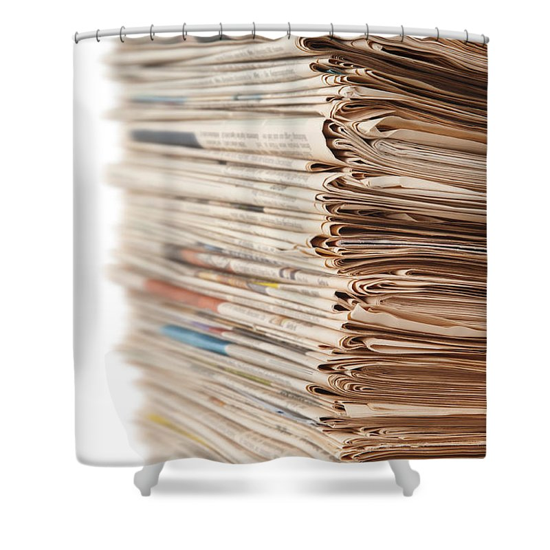 Newspaper Shower Curtain featuring the photograph Newspaper Stack by Chevy Fleet