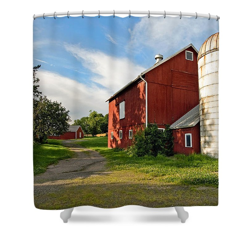 Bucolic Shower Curtain featuring the photograph Newtown Barn by Bill Wakeley