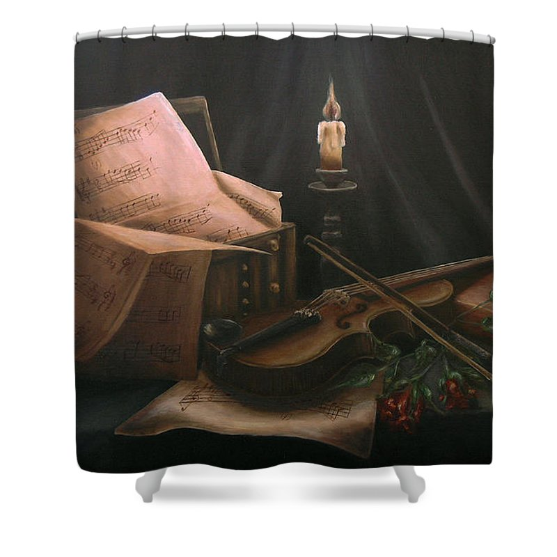 Still Life Shower Curtain featuring the painting Next To Bach's Musical Scores by Andreja Dujnic