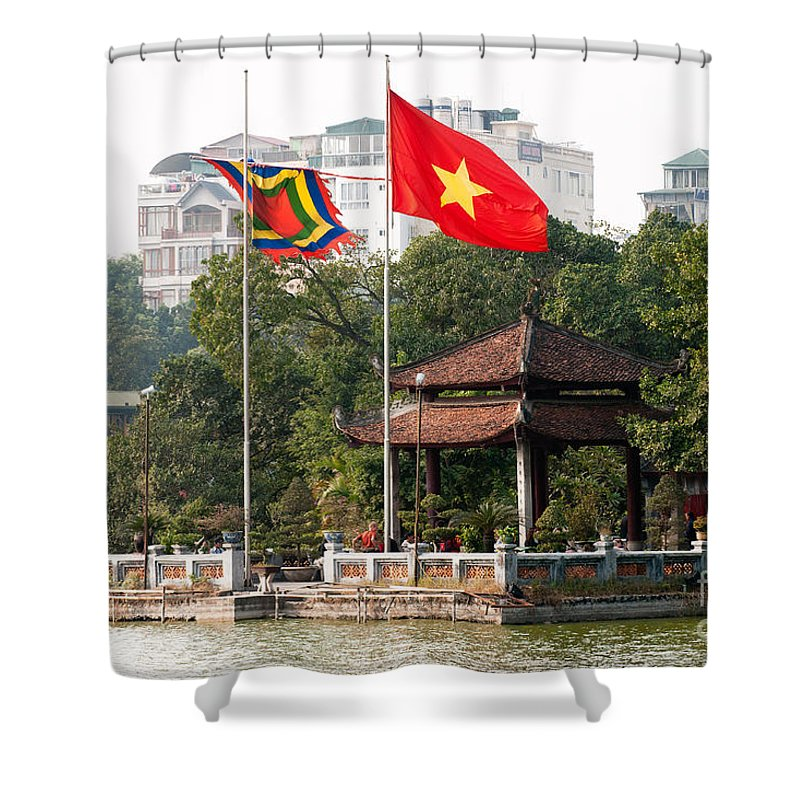 Vietnam Shower Curtain featuring the photograph Ngoc Son Temple 01 by Rick Piper Photography