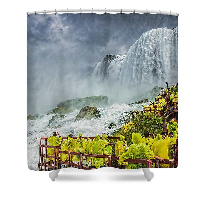 Niagara Shower Curtain featuring the photograph American Falls Niagara Cave Of The Winds by LeeAnn McLaneGoetz McLaneGoetzStudioLLCcom