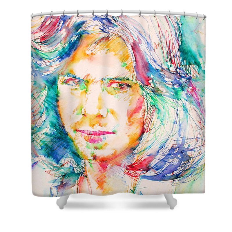 Nick Drake Shower Curtain Featuring The Painting By Fabrizio Cassetta