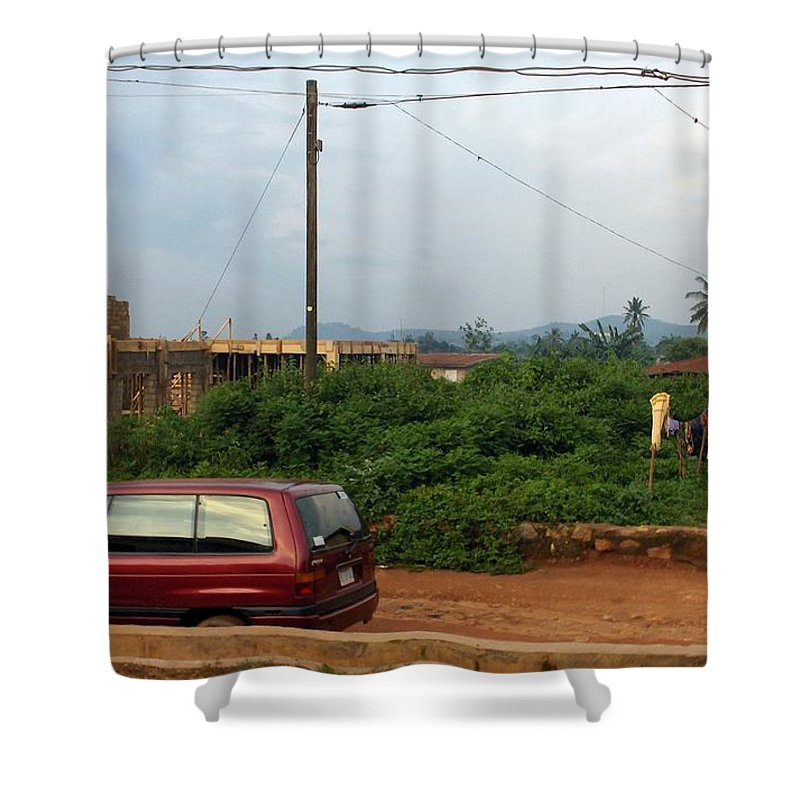 Mountains Shower Curtain featuring the photograph Nigerian Mountains In The Distance by Amy Hosp