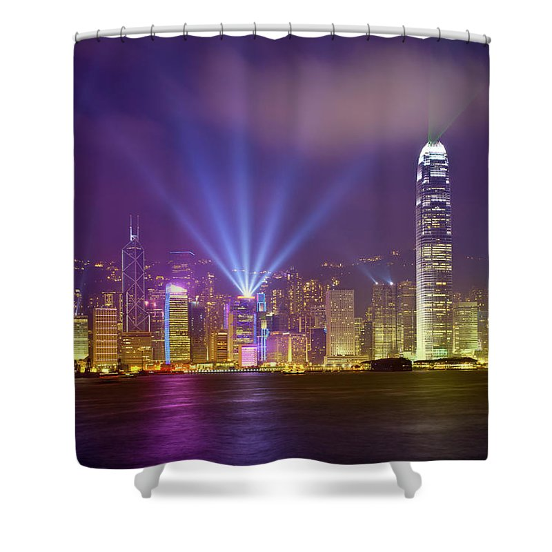 Chinese Culture Shower Curtain featuring the photograph Night Cityscape Of Hongkong by Ithinksky