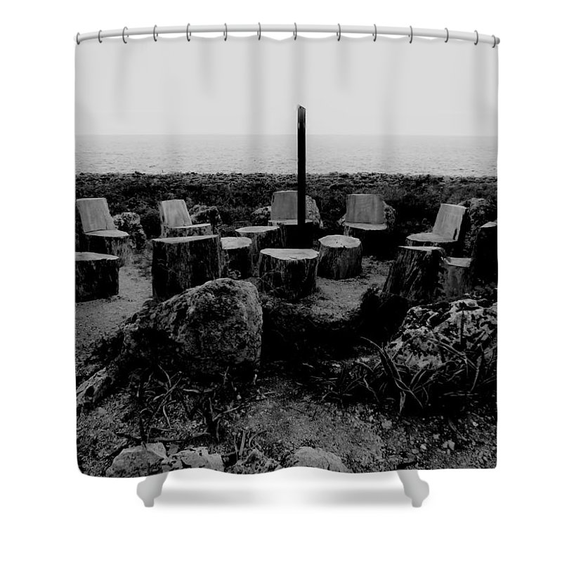 Black And White Shower Curtain featuring the photograph Night Council by Amar Sheow