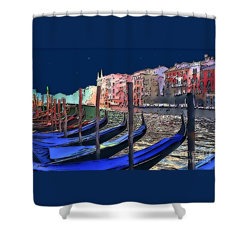 Impressionism Shower Curtain featuring the photograph Night Falls In Venice by Linda Parker