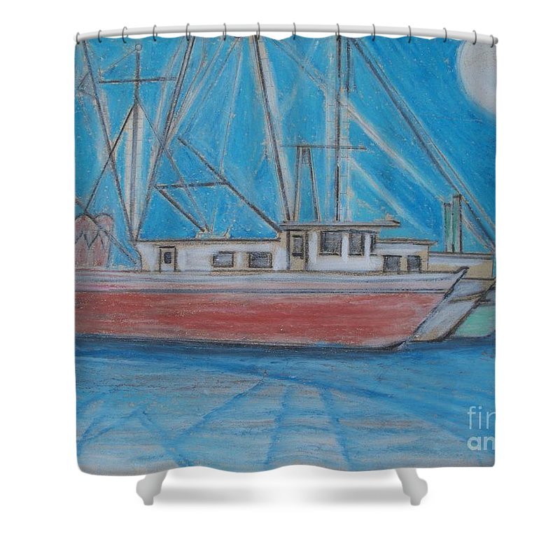 Night Shower Curtain featuring the painting Night Fishing by Eric Schiabor