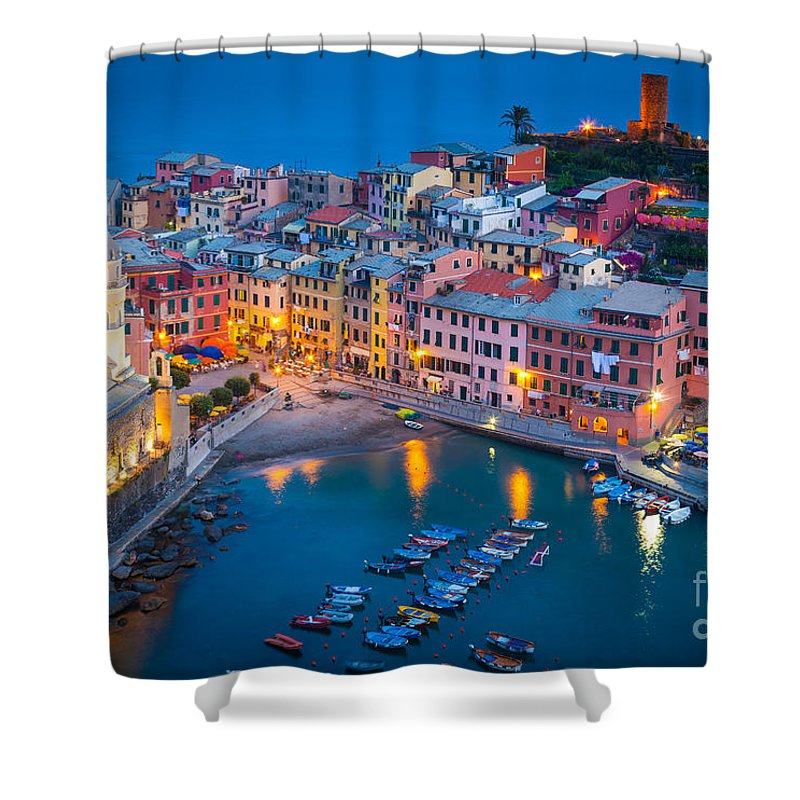 Cinque Terre Shower Curtain featuring the photograph Night In Vernazza by Inge Johnsson
