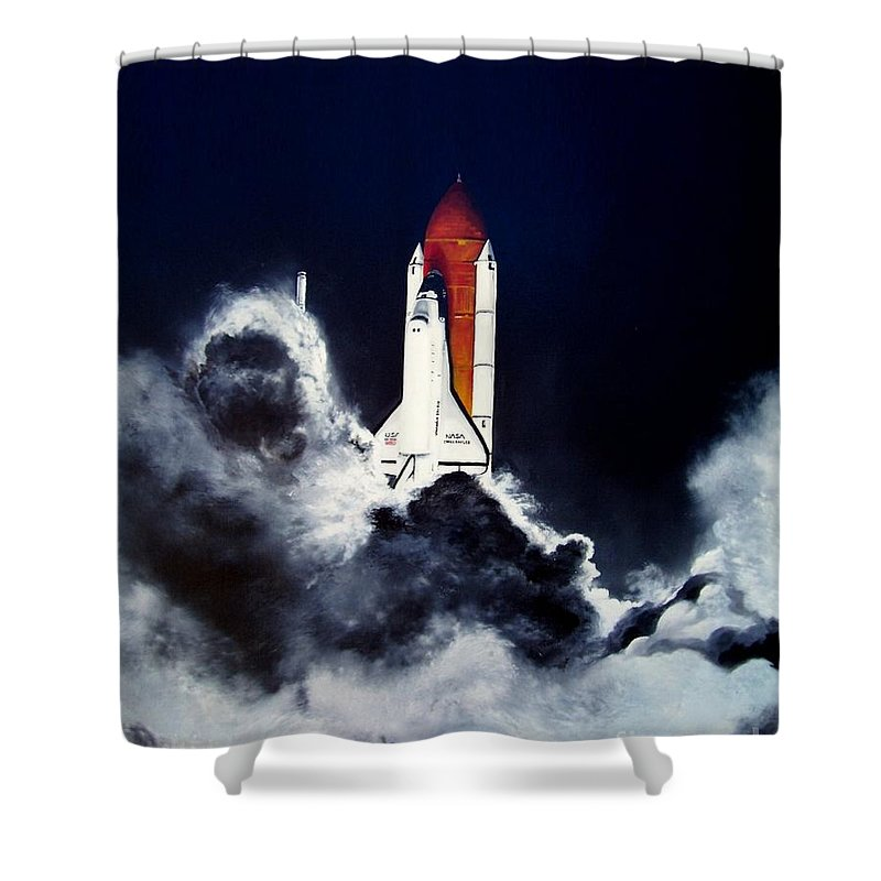 Oil Shower Curtain featuring the painting Night Launch by Murphy Elliott