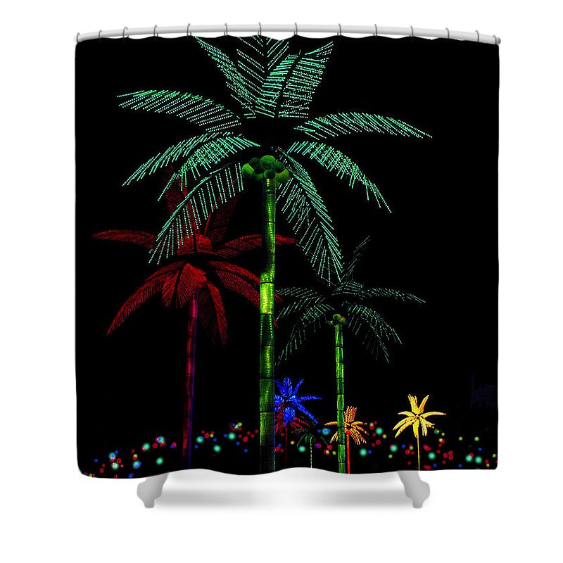 Palm Trees Shower Curtain featuring the photograph Night Lights Electric Palm Trees by Karon Melillo DeVega