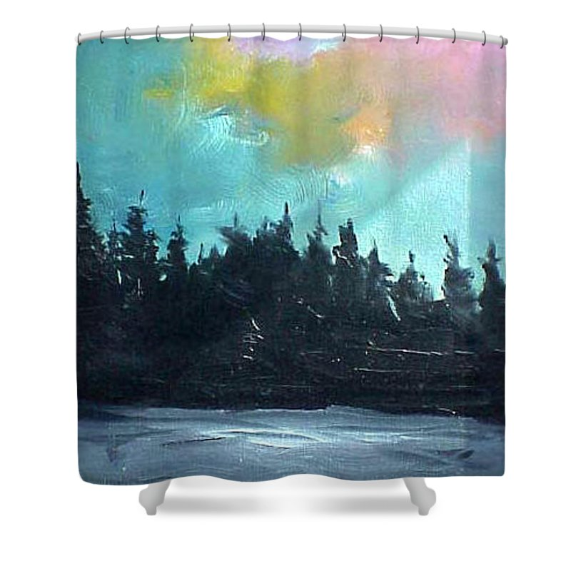 Landscape Shower Curtain featuring the painting Night River by Sergey Bezhinets