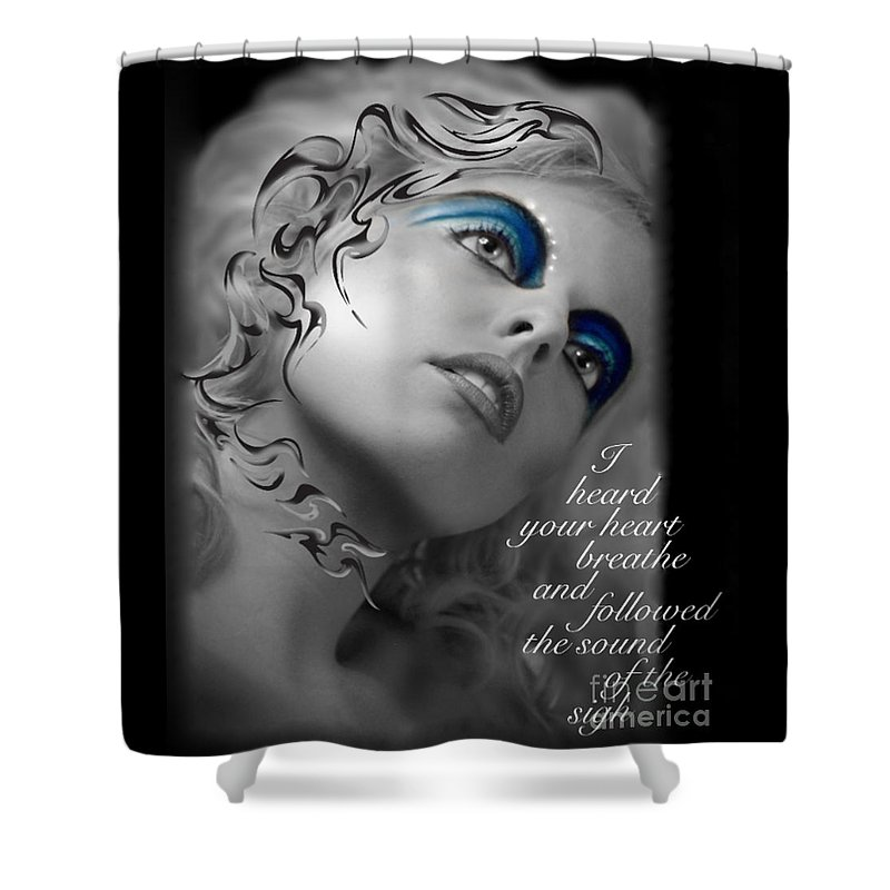 Woman Shower Curtain featuring the photograph Night Vision With Text by Chanel Fernandez