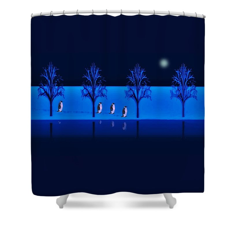 Penguin Shower Curtain featuring the digital art Night Walk Of The Penguins by David Dehner