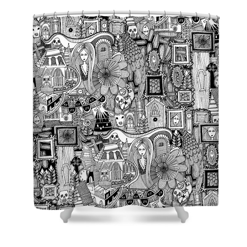 Ghost Shower Curtain featuring the drawing Nightmares by MGL Meiklejohn Graphics Licensing