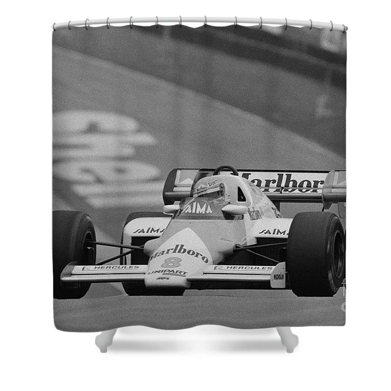 Niki Lauda Shower Curtain featuring the photograph Niki Lauda. 1984 British Grand Prix by Oleg Konin