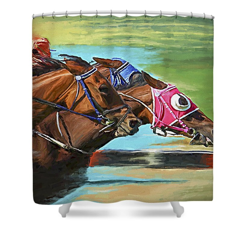 Horses Shower Curtain featuring the painting Nikita By A Head by David Wagner