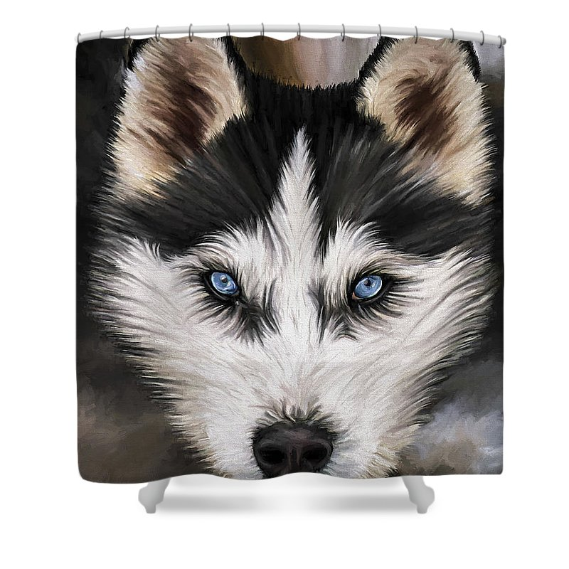 Dog Art Shower Curtain featuring the painting Nikki by David Wagner