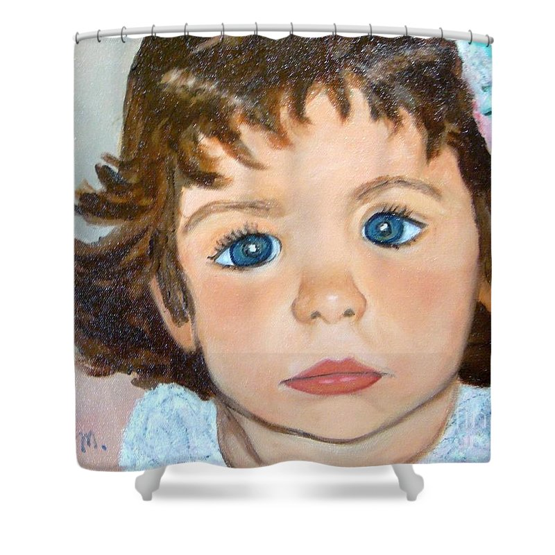 Portrait Shower Curtain featuring the painting Nikki by Laurie Morgan
