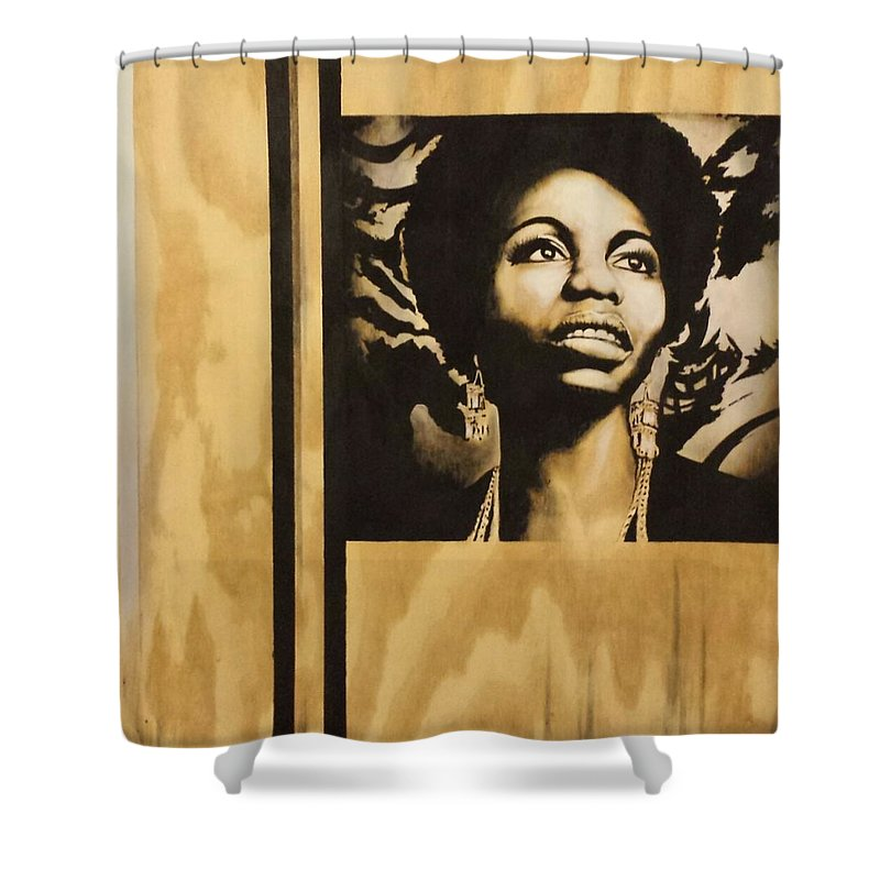 Nina Simone Shower Curtain featuring the painting Nina by Melanie T