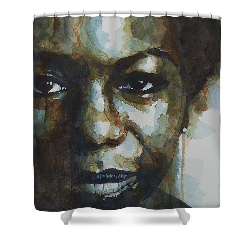 Nina Simone Shower Curtain featuring the painting Nina Simone Ain't Got No by Paul Lovering
