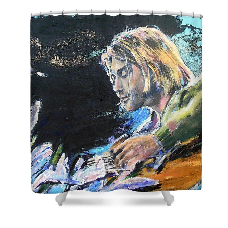 Nirvana Shower Curtain featuring the painting Nirvana - Kurt Cobain by Lucia Hoogervorst
