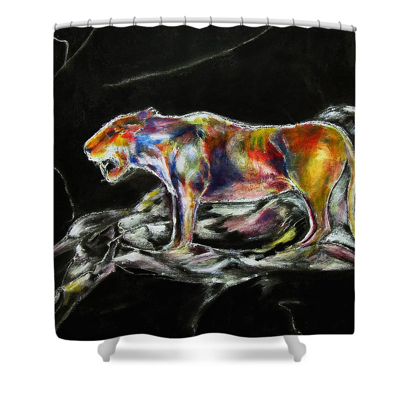 Animals Shower Curtain featuring the painting No Fear by Tom Conway