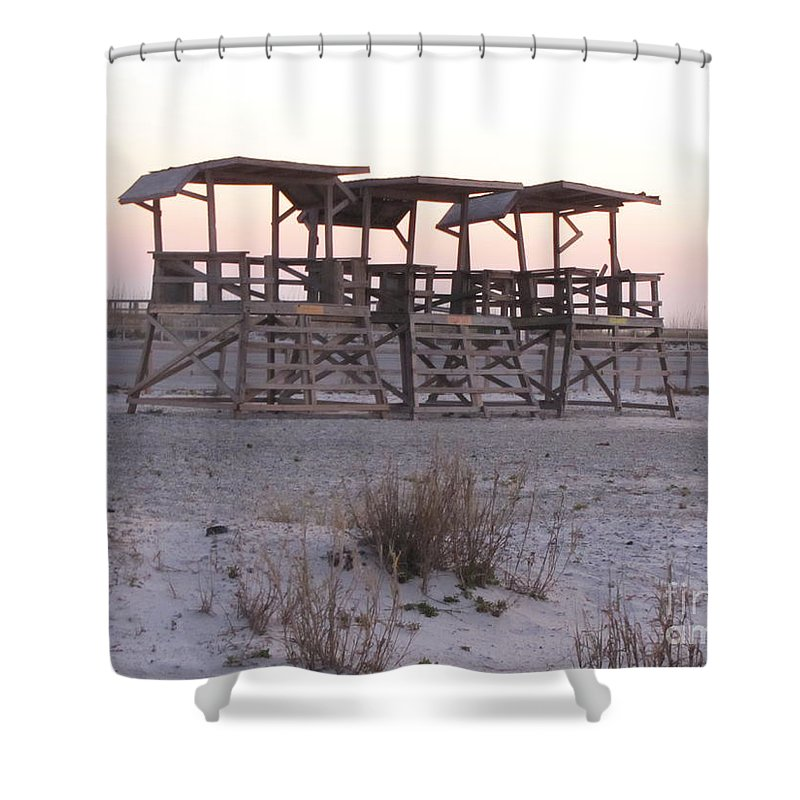 Lifegaurd Shower Curtain featuring the photograph No Lifegaurds by Michelle Powell