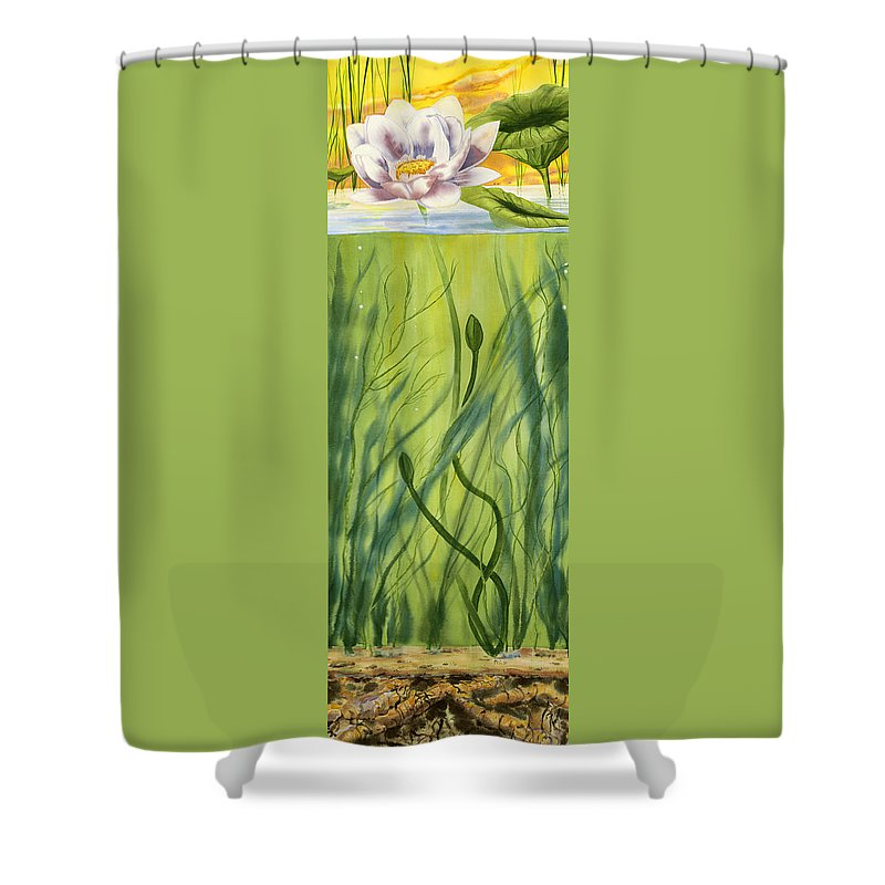 No Mud No Lotus Thich Nhat Hanh Quote Shower Curtain featuring the painting No Mud No Lotus by Michael Donenfeld