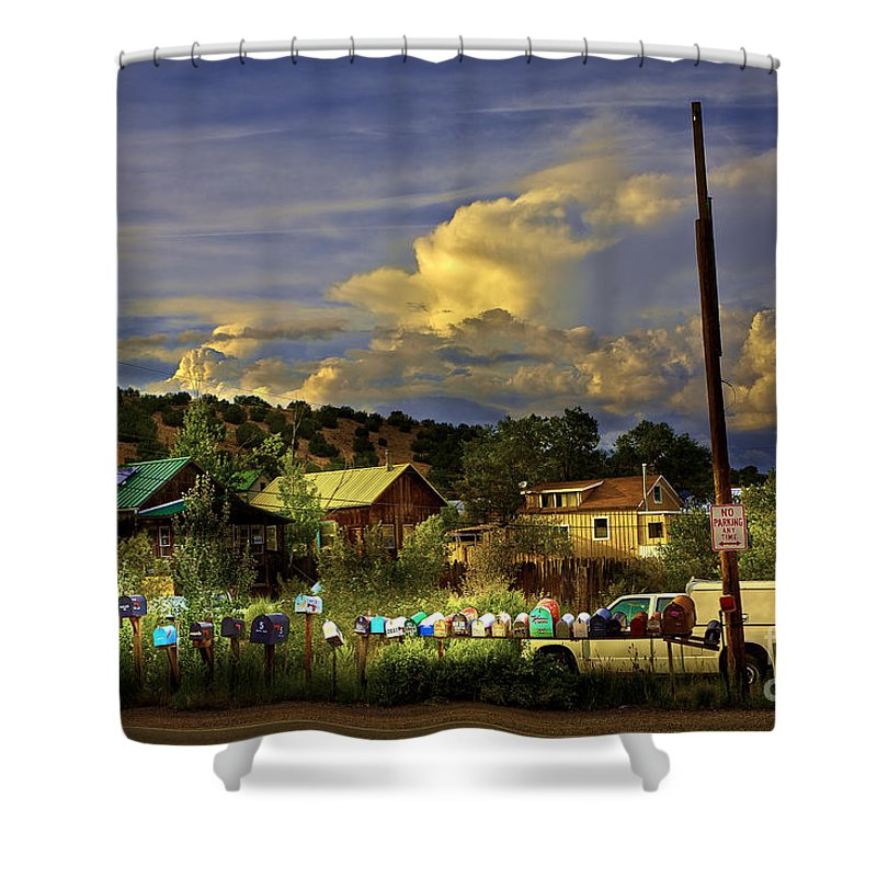 Mailboxes Shower Curtain featuring the photograph No Parking Anytime I by Madeline Ellis