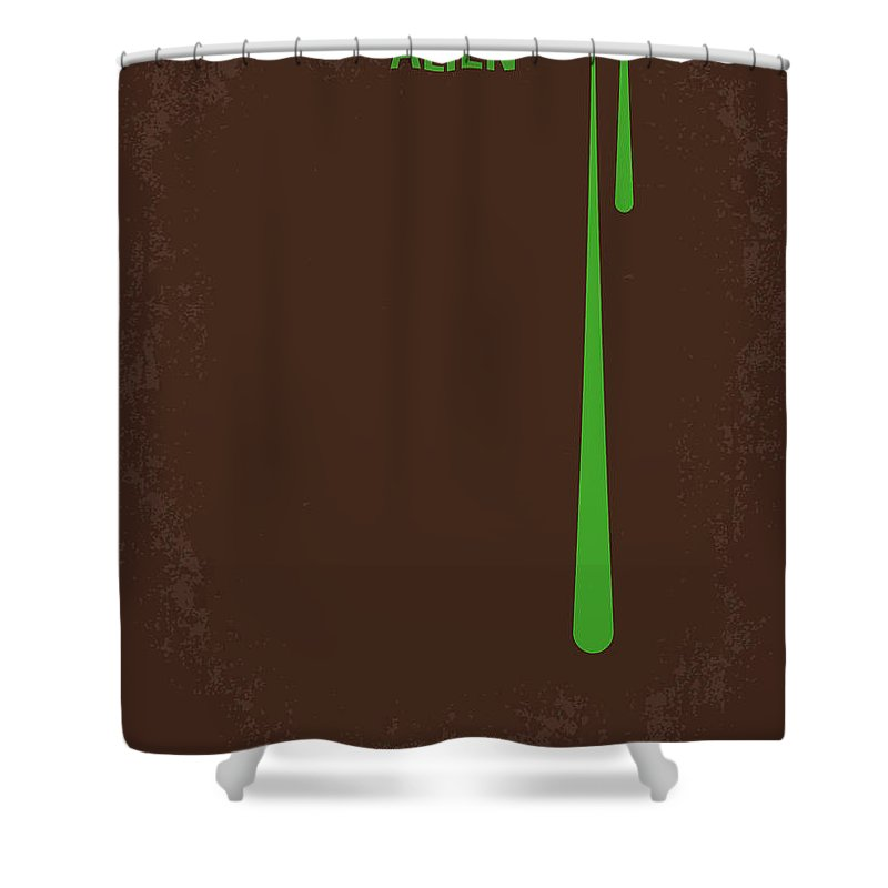 Alien Shower Curtain Featuring The Digital Art No004 My Minimal Movie Poster By Chungkong