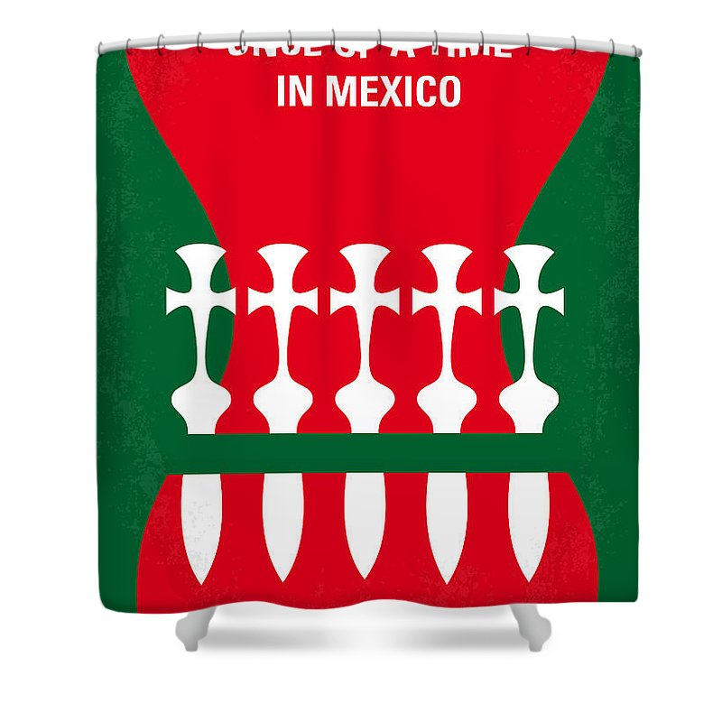 Once Shower Curtain featuring the digital art No058 My Once Upon A Time In Mexico Minimal Movie Poster by Chungkong Art