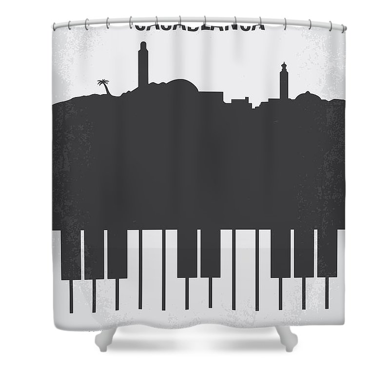 Casablanca Shower Curtain featuring the digital art No192 My Casablanca minimal movie poster by Chungkong Art