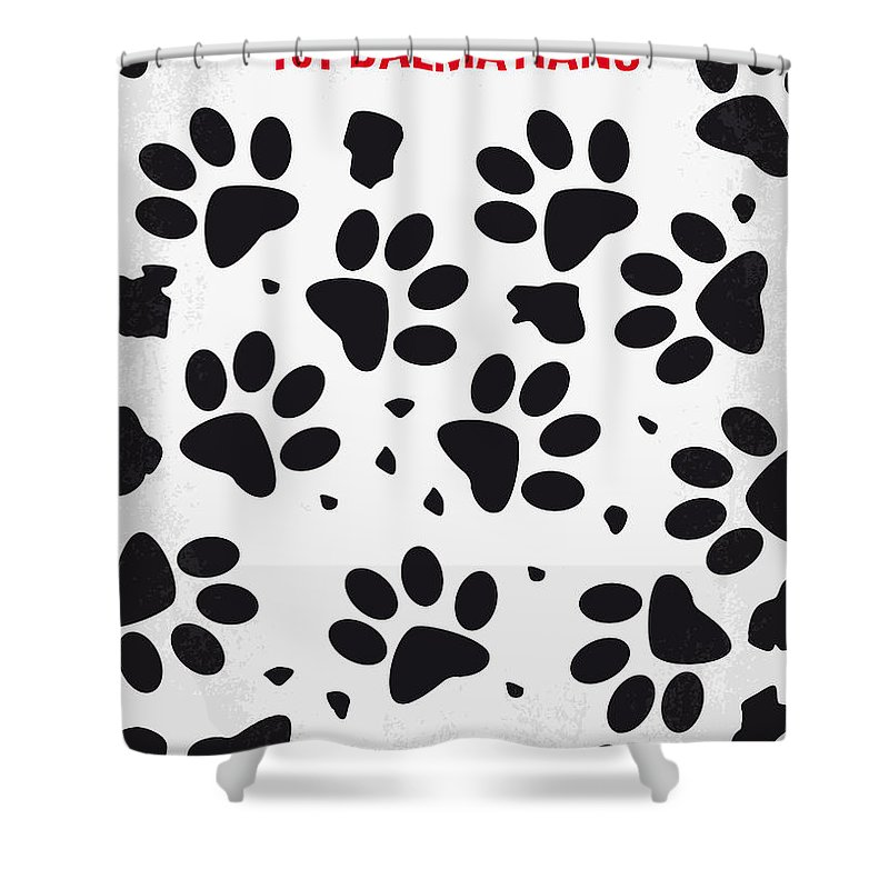 101 Shower Curtain featuring the digital art No229 My 101 Dalmatians Minimal Movie Poster by Chungkong Art