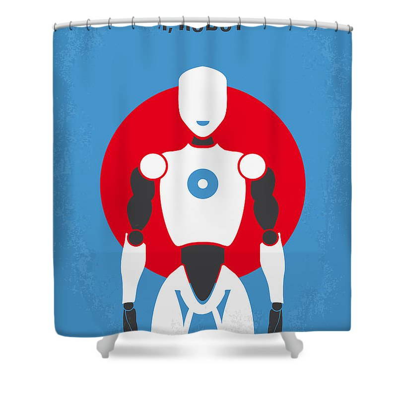 Robot Shower Curtain featuring the digital art No275 My I Robot Minimal Movie Poster by Chungkong Art