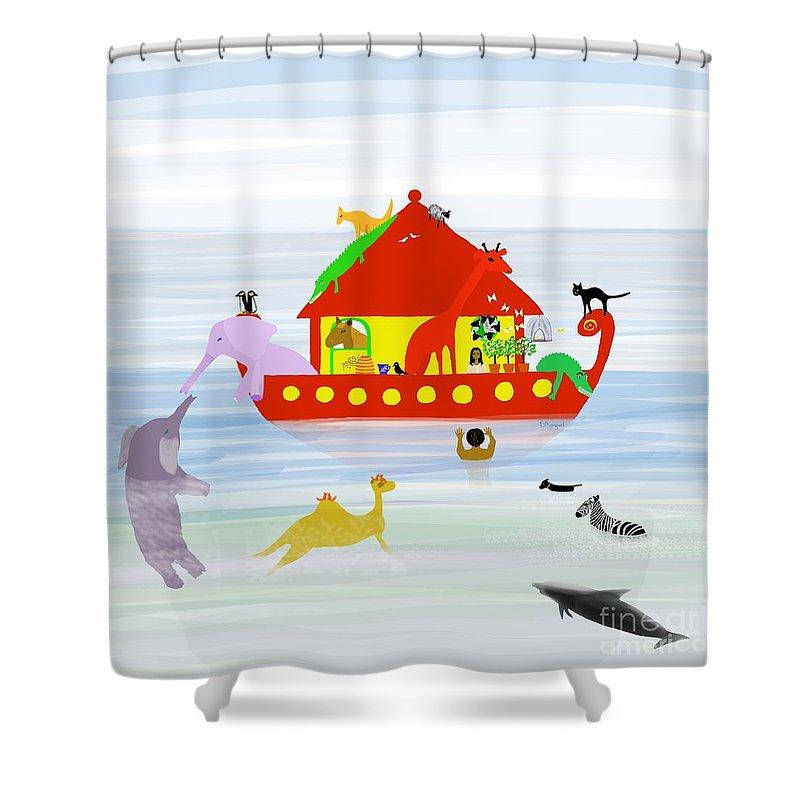 Ark Shower Curtain featuring the digital art Noah's Ark by Barbara Moignard