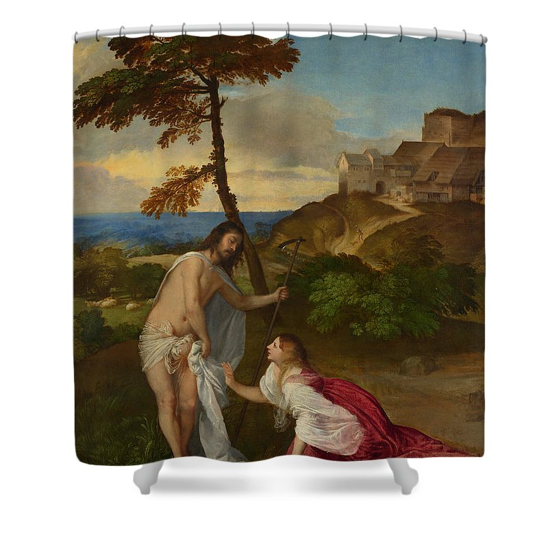 Noli Me Tangere Shower Curtain featuring the painting Noli Me Tangere by Titian