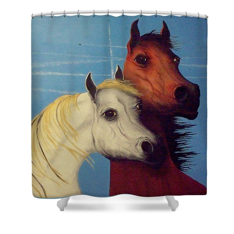 Horses Shower Curtain featuring the painting Chemtrail Ponys by Patrick Trotter