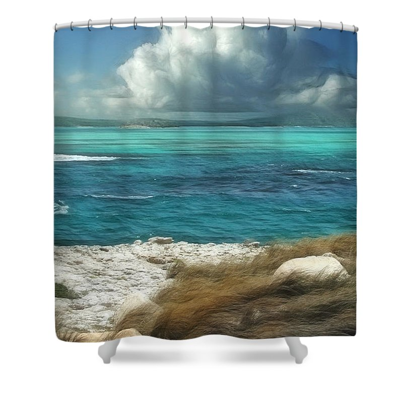 Antigua Shower Curtain Featuring The Painting Nonsuch Bay By John Edwards