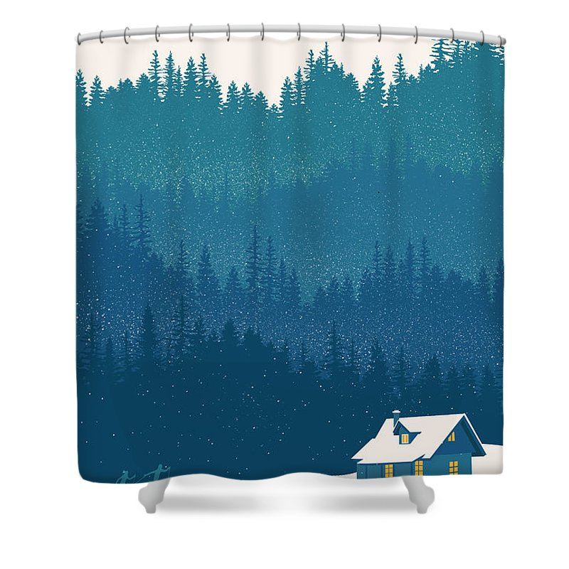 Nordic Ski Shower Curtain featuring the painting Nordic Ski Scene by Sassan Filsoof
