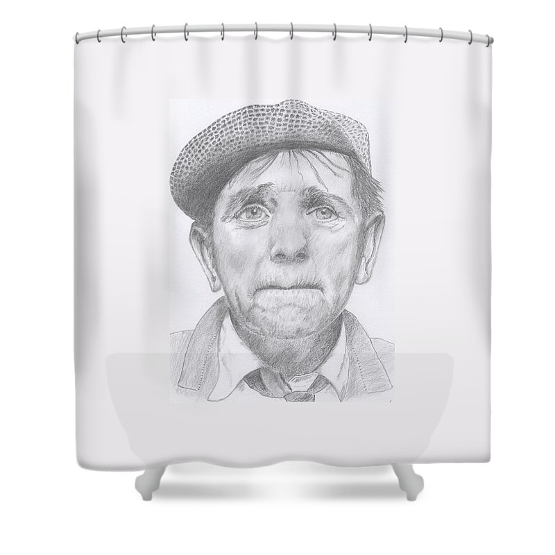 Norman Wisdom. Shower Curtain featuring the drawing Norman Wisdom by Keith Miller