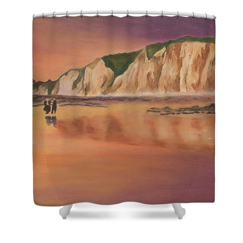 Seascape Shower Curtain featuring the painting Normandy Reflections by Deborah Butts