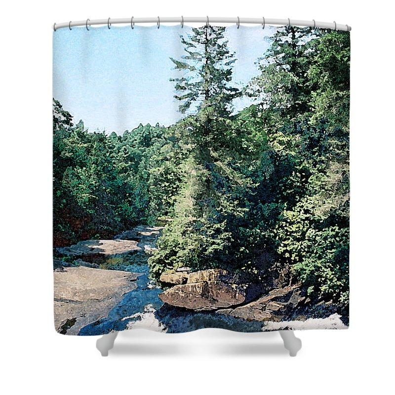 Landscape Shower Curtain featuring the digital art North Carolina Landscape by Steve Karol