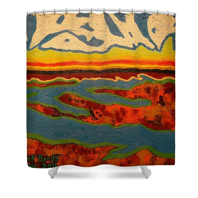 Oil Shower Curtain featuring the painting North Creek Byrds by Douglas W Warawa